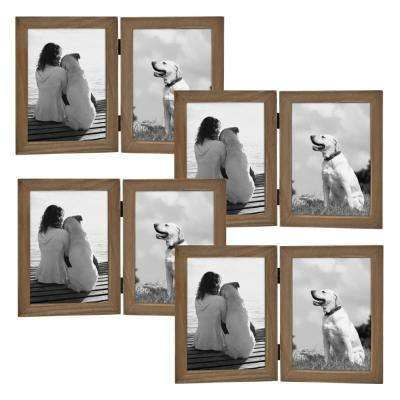 Gallery 2 opening-5 in. x 7 in. Rustic Brown Wood Picture Frame (Set of 4)