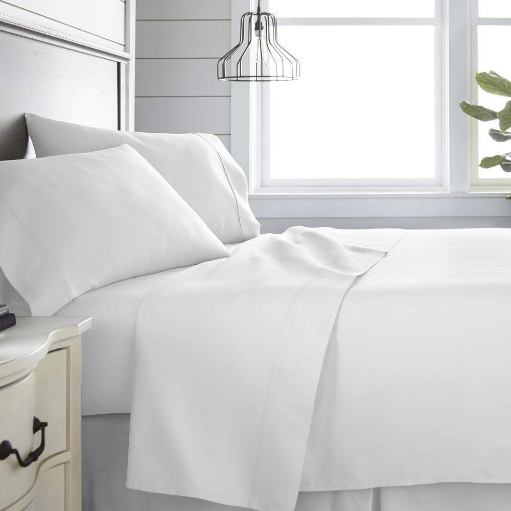 4-Piece White Solid 300 Thread Count Cotton Queen Sheet Set