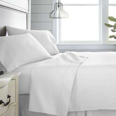 4-Piece White 300 Thread Count Cotton Queen Bed Sheet Set