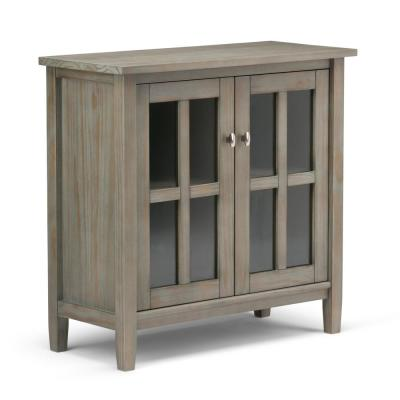 Warm Shaker Solid Wood 32 in. Wide Rustic Low Storage Cabinet in Distressed Grey