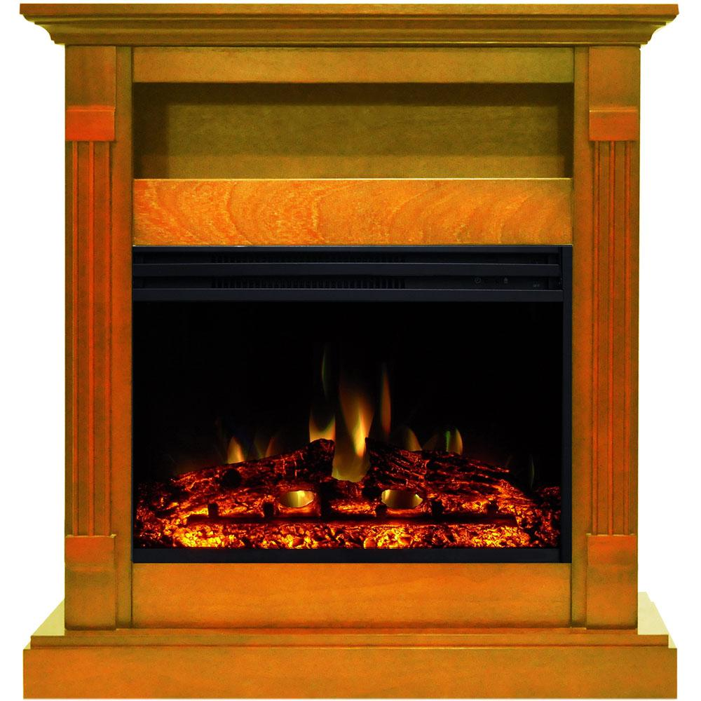 Cambridge Sienna 34 In Electric Fireplace Heater In Teak With