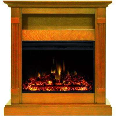 Sienna 34 in. Electric Fireplace Heater in Teak with Mantel, Enhanced Log Display and Remote Control