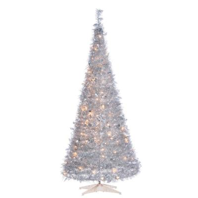 6 ft. H Silver PopUp Tinsel Tree with Holly Leaves