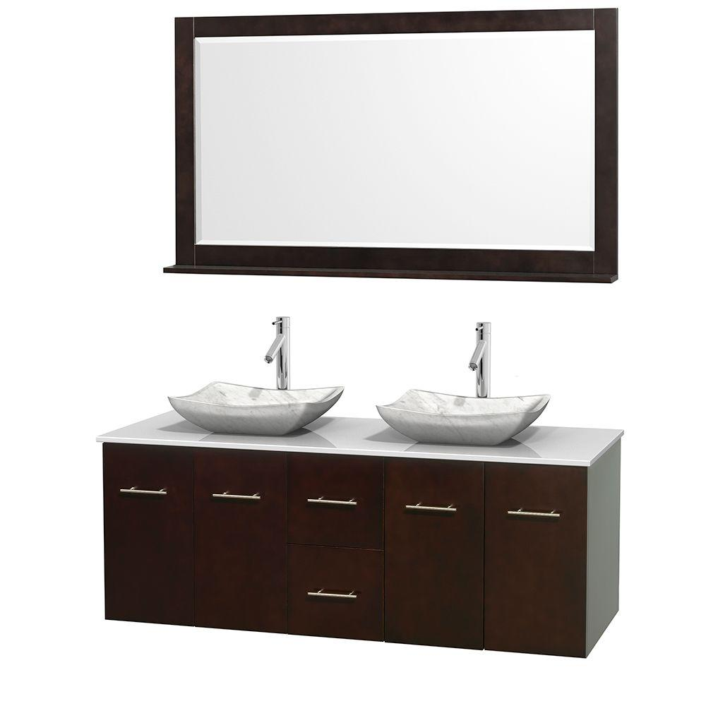 Wyndham Collection Centra 60 in. Double Vanity in Espresso with Solid-Surface Vanity Top in White, Carrara Marble Sinks and 58 in. Mirror