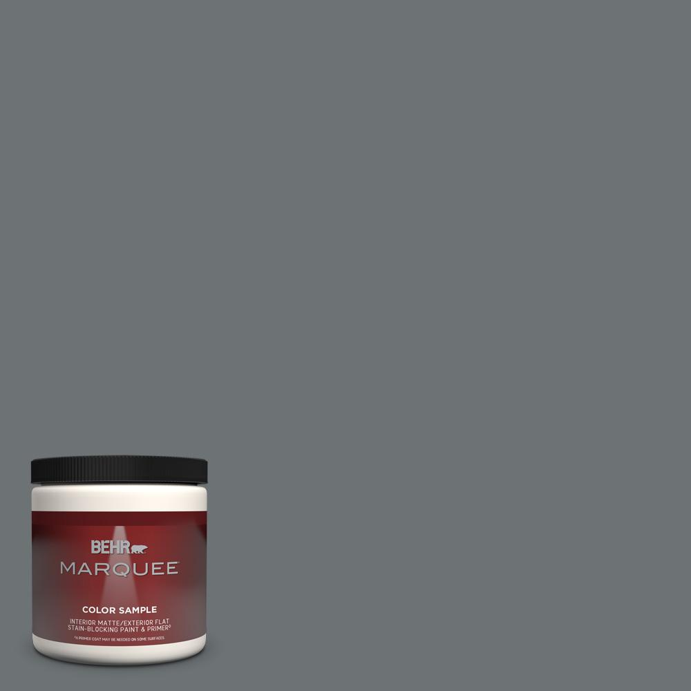 Behr Marquee 8 Oz Mq5 28 Dawn Gray One Coat Hide Matte Interior Exterior Paint Primer Sample Mq30416 The Home Depot