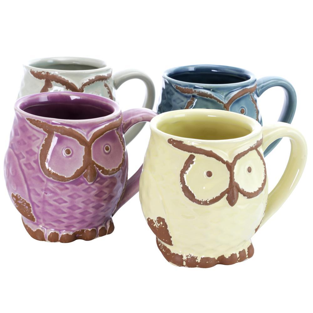 Nocturnal Gaze 18 oz. Assorted colors owl Mugs (Set of 4)