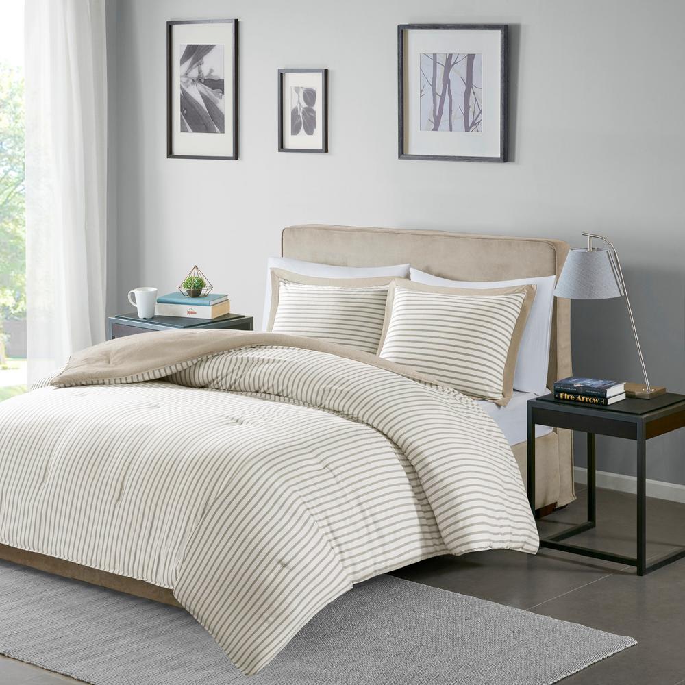 Braydon 3-Piece Tan King/Cal King Reversible Yarn Dyed Stripe Down Alternative Comforter Set