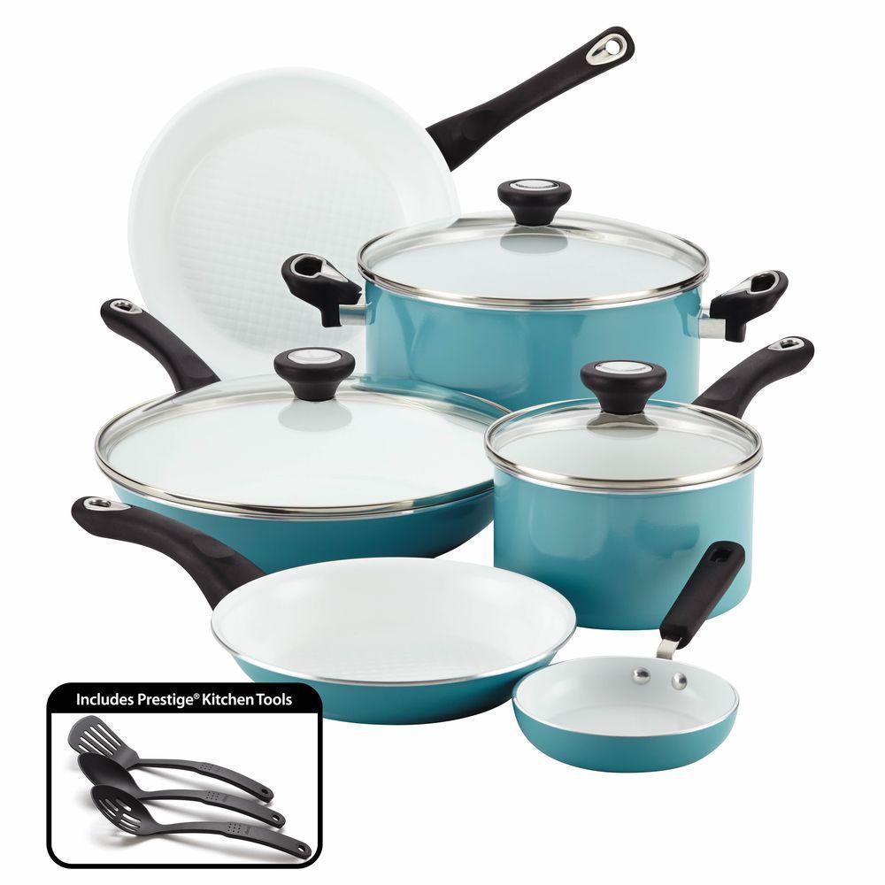 purECOok 12-Piece Aluminum Ceramic Nonstick Cookware Set in Aqua