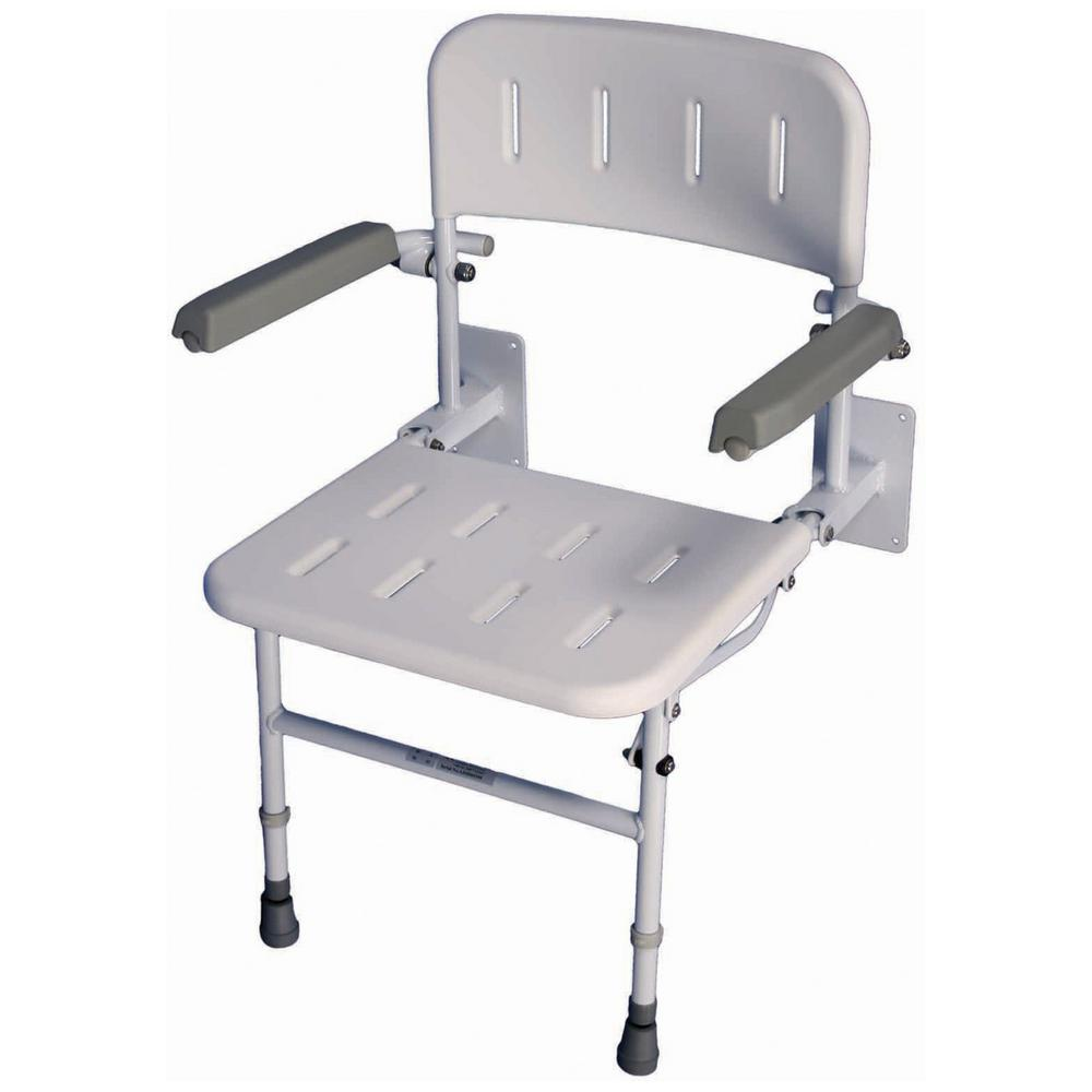 Liberty 23-1/2 in. W x 21-1/2 in. D Unpadded Shower Seat with Back ...