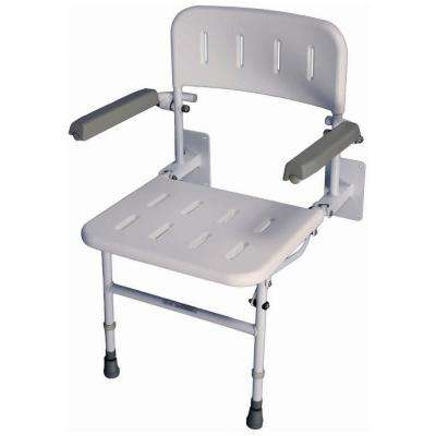 Liberty 23-1/2 in. W x 21-1/2 in. D Unpadded Shower Seat with Back Rest and Arms in Gray and White