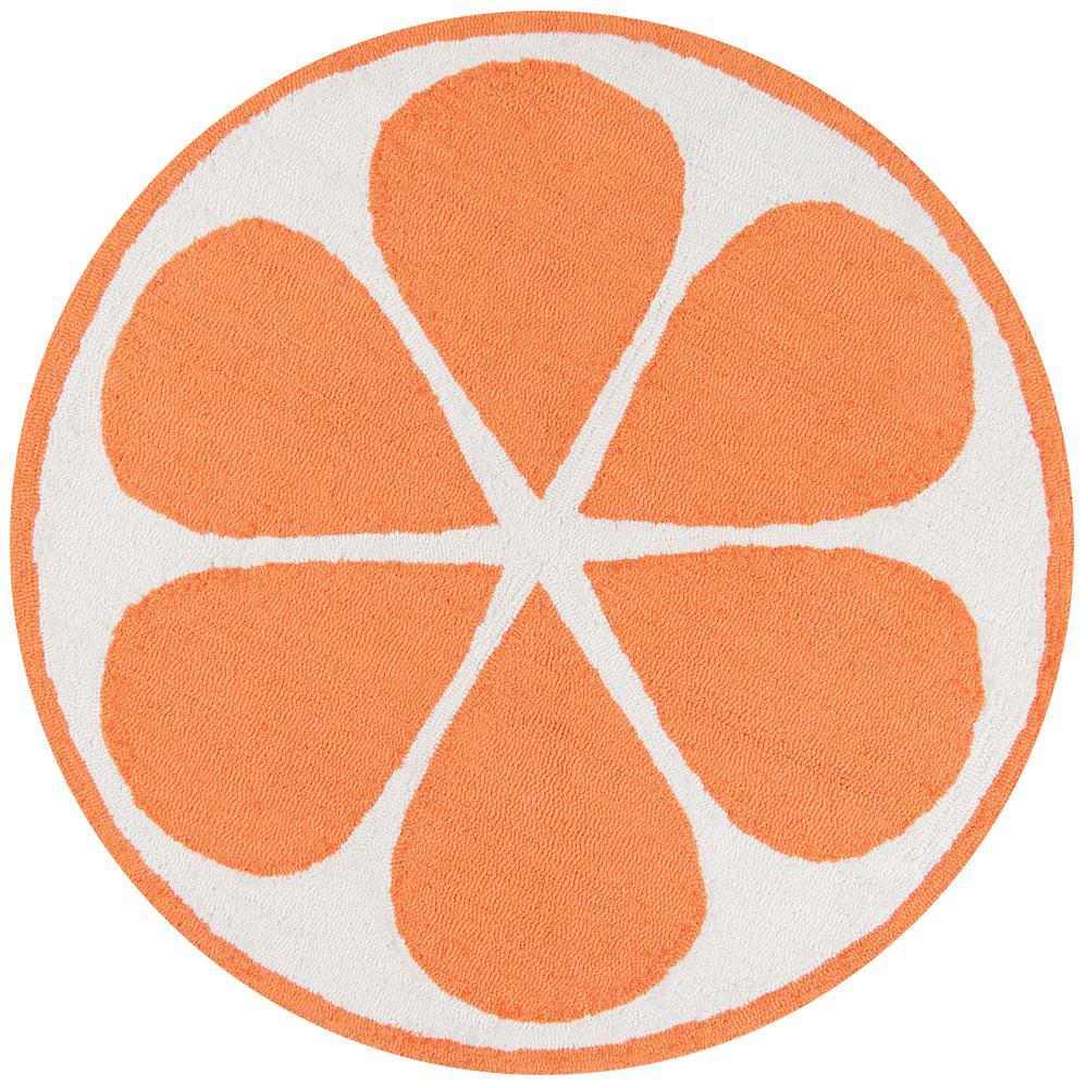 Novogratz Cucina Orange 3 Ft. X 3 Ft. Round Kitchen Mat