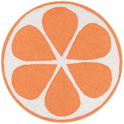 Cucina Orange 3 ft. x 3 ft. Round Kitchen Mat