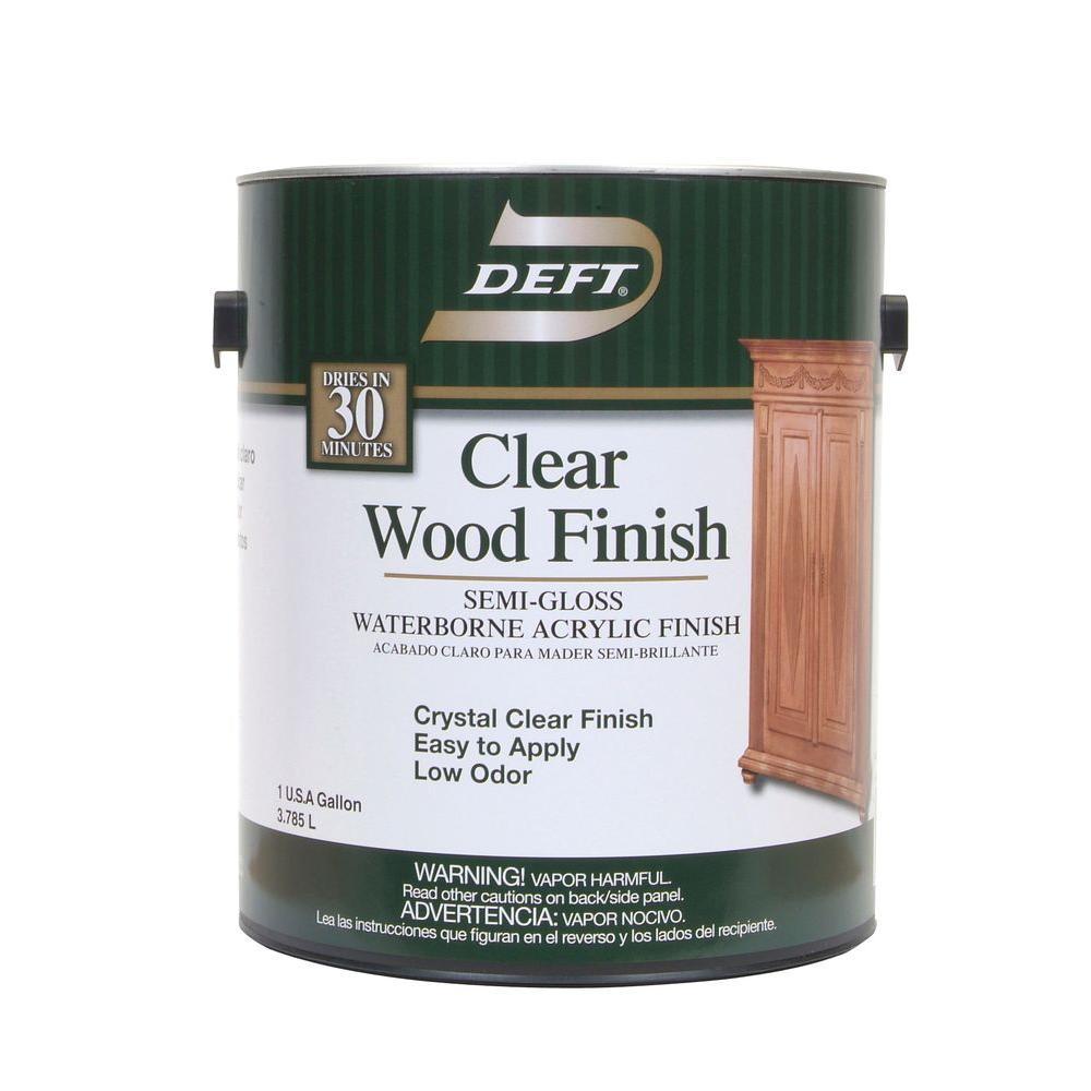 1 gal. Semi-Gloss Interior Clear Wood Finish Waterborne Acrylic