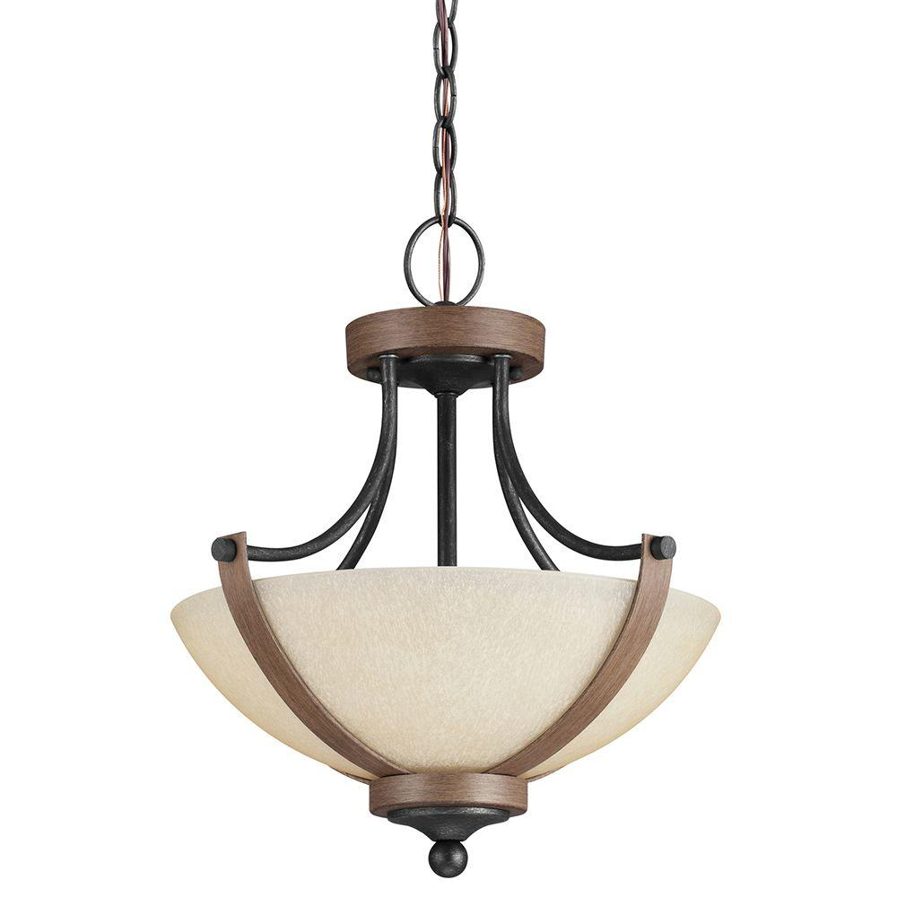 Sea Gull Lighting Corbeille 15 in. W. 2-Light Weathered Gray and Distressed Oak Semi-Flush Mount Convertible Pendant with Creme Glass