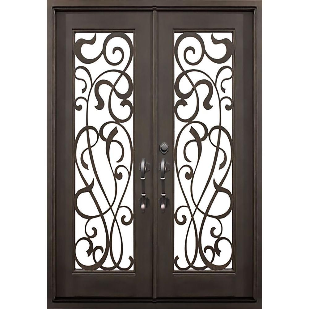 ALLURE IRON DOORS & WINDOWS 72 in. x 82 in. St.Lucie Flat Top Dark Bronze Full Lite Painted Wrought Iron Prehung Front Door (Hardware Included)