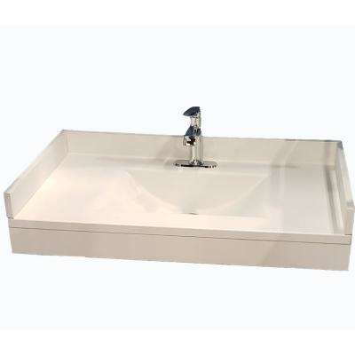 Freedomline 37 in. W x 22 in. D Solid Surface Pocket Vanity Top Kit with Sink in White