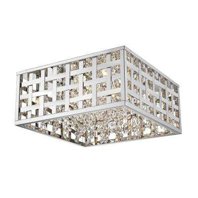 Logan Collection 4-Light Chrome Flush Mount