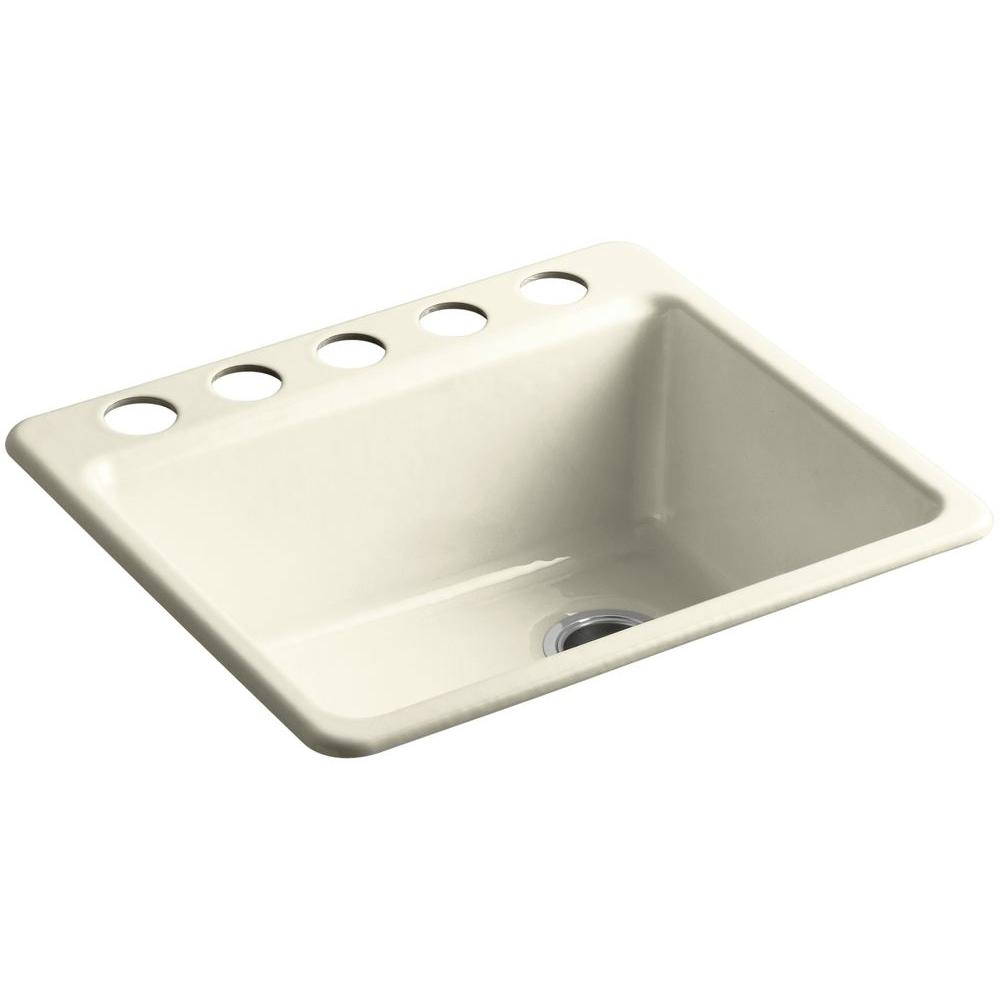 Riverby Undermount Cast-Iron 25 in. 5-Hole Single Bowl Kitchen Sink Kit