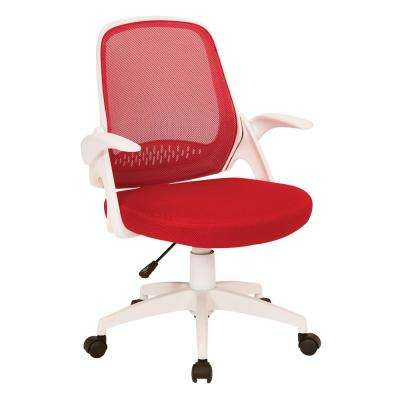Jackson Red Mesh and White Frame Office Chair with Flip Arms