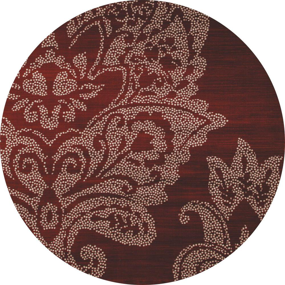 Art Carpet Bastille Large Damask Red 5 Ft X Round Area Rug
