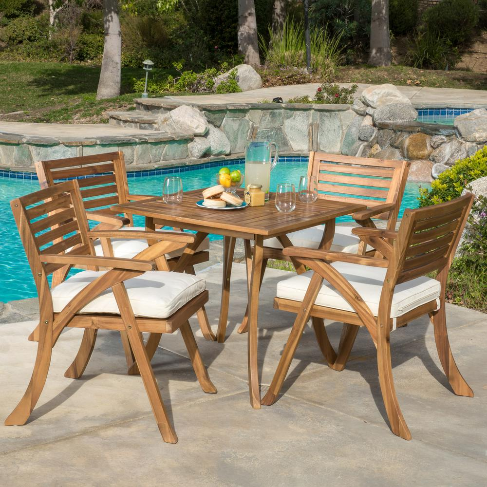 Noble House Hermosa Teak 5-Piece Wood Square Outdoor Dining Set with Cream Cushions
