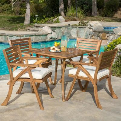 Hermosa Teak 5-Piece Wood Square Outdoor Dining Set with Cream Cushions