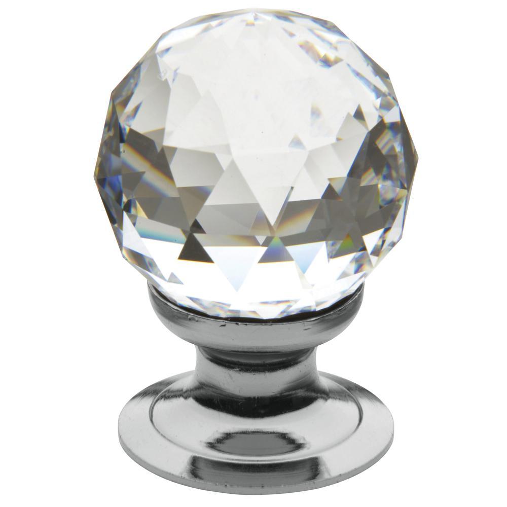 Baldwin 1.19 in. Polished Chrome Swarovski Crystal Knob