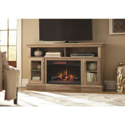 Hawkings Point 59.5 in. Rustic TV Stand Electric Fireplace in Pine