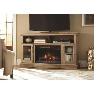 Home Decorators Collection Hawkings Point 59.5 inch Rustic TV Stand Electric Fireplace in... by Home Decorators Collection