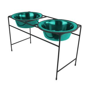 Platinum Pets 6.25 Cup Modern Double Diner Feeder with Dog Bowls, Caribbean Teal by Platinum Pets