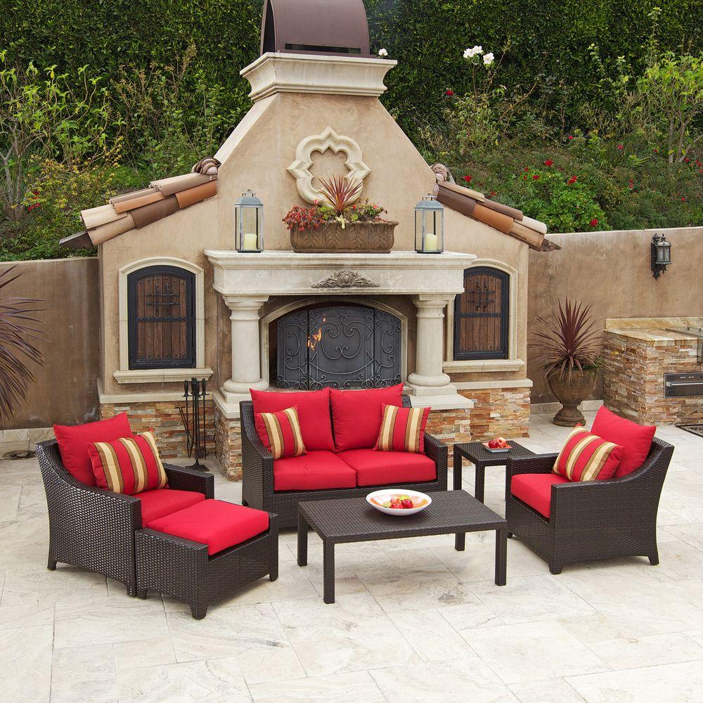 Rst brands deco 6 piece patio seating set with cantina red for Muebles patio