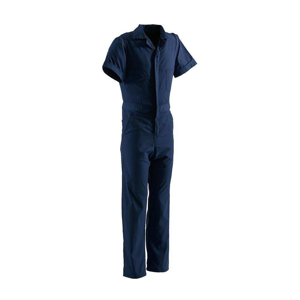 Men's 3 XL Regular Navy Polyester and Cotton Poplin Blend Poplin Short Sleeve Coverall
