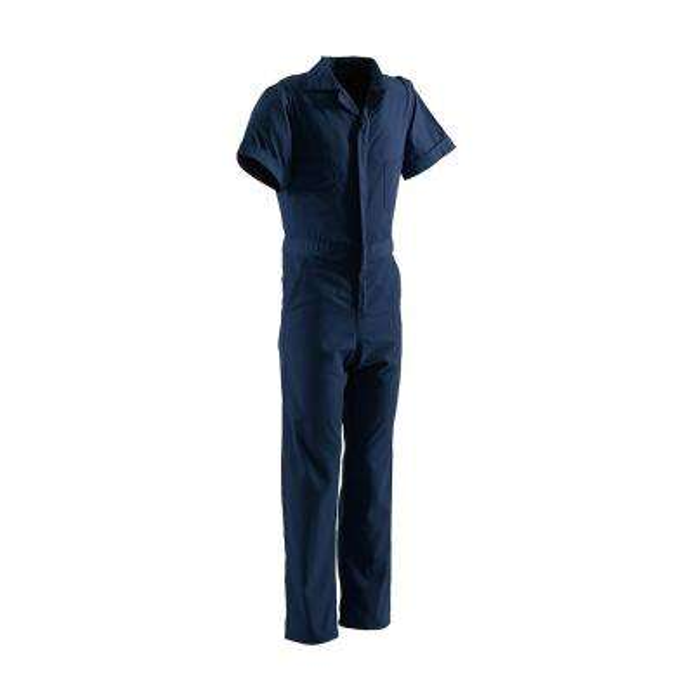 Men's Medium Tall Navy Polyester and Cotton Poplin Blend Poplin Short Sleeve Coverall