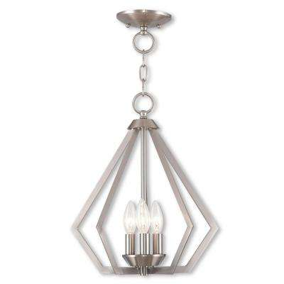 Prism 3-Light Brushed Nickel Convertible Chandelier