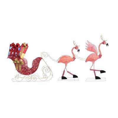 44 in. Pre-Lit LED Christmas Flamingo with Sleigh