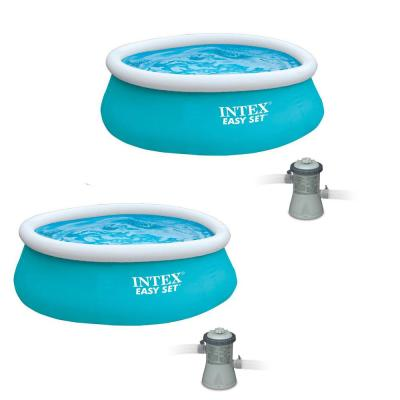 6 ft. x 20 in. Round Easy Set Inflatable Swimming Pool (2-Pack) and Filter Pump (2-Pack)