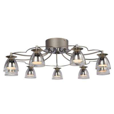 Negron 9-Light Chrome Halogen Semi Flush Mount