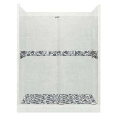 Newport Grand Slider 36 in. x 60 in. x 80 in. Right Drain Alcove Shower Kit in Natural Buff and Satin Nickel Hardware