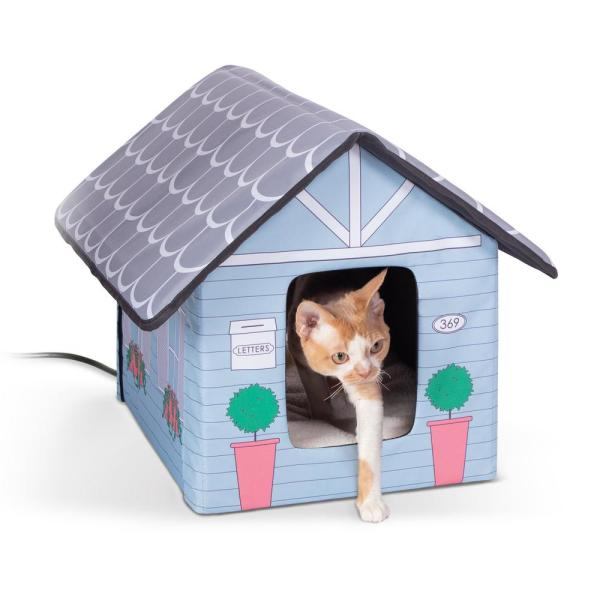 18 in. x 22 in. x 17 in. Outdoor Heated Kitty House-Cottage Style