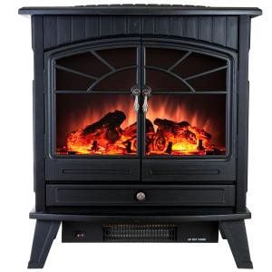 Click here to buy AKDY 23 inch Freestanding Electric Fireplace Stove Heater in Black with Vintage Glass... by AKDY.