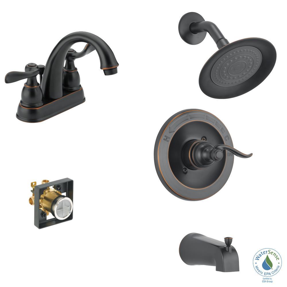 Delta Windemere 4 In Centerset 2 Handle Bathroom Faucet Bundle With