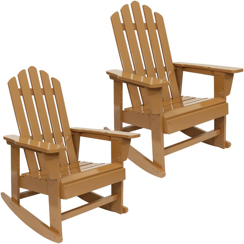Classic Wood Rocking Adirondack Chair in Cedar Set of 2)