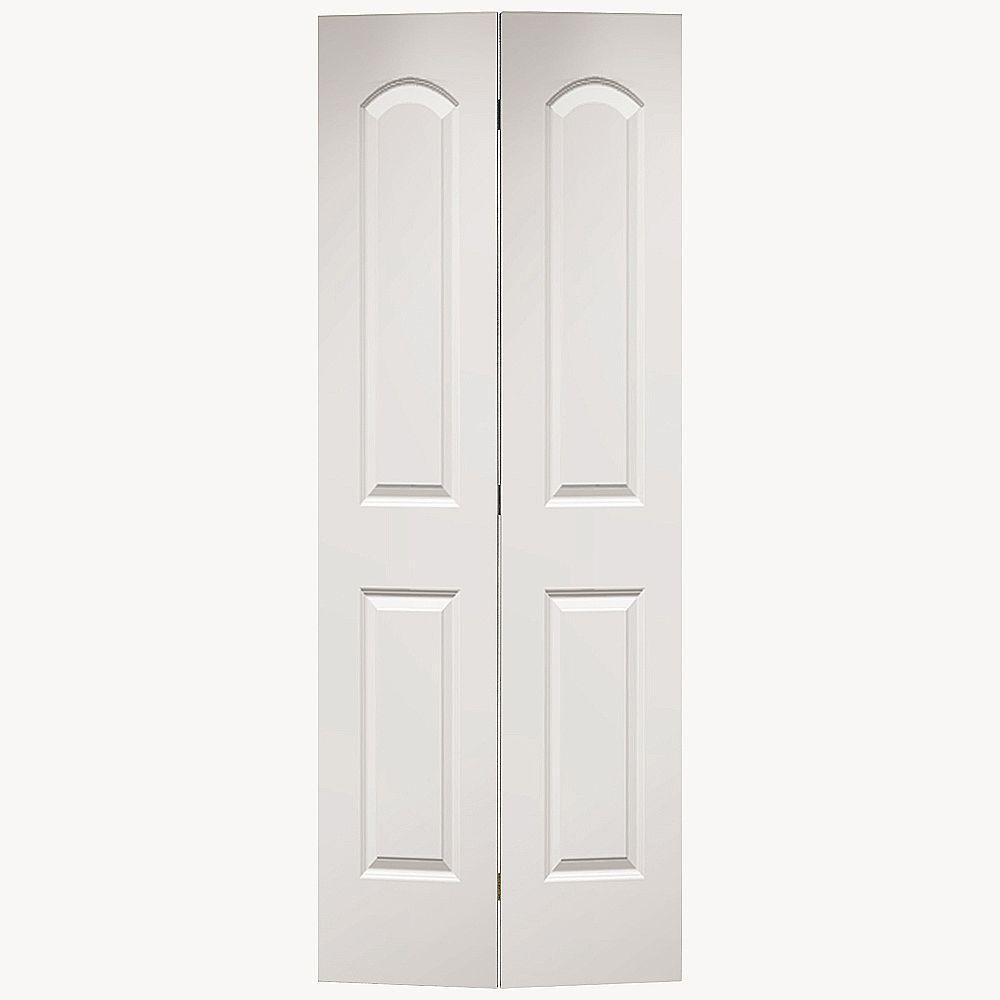 Roman 2 Panel Round Top Primed White Hollow Core Smooth Composite Bi Fold Door