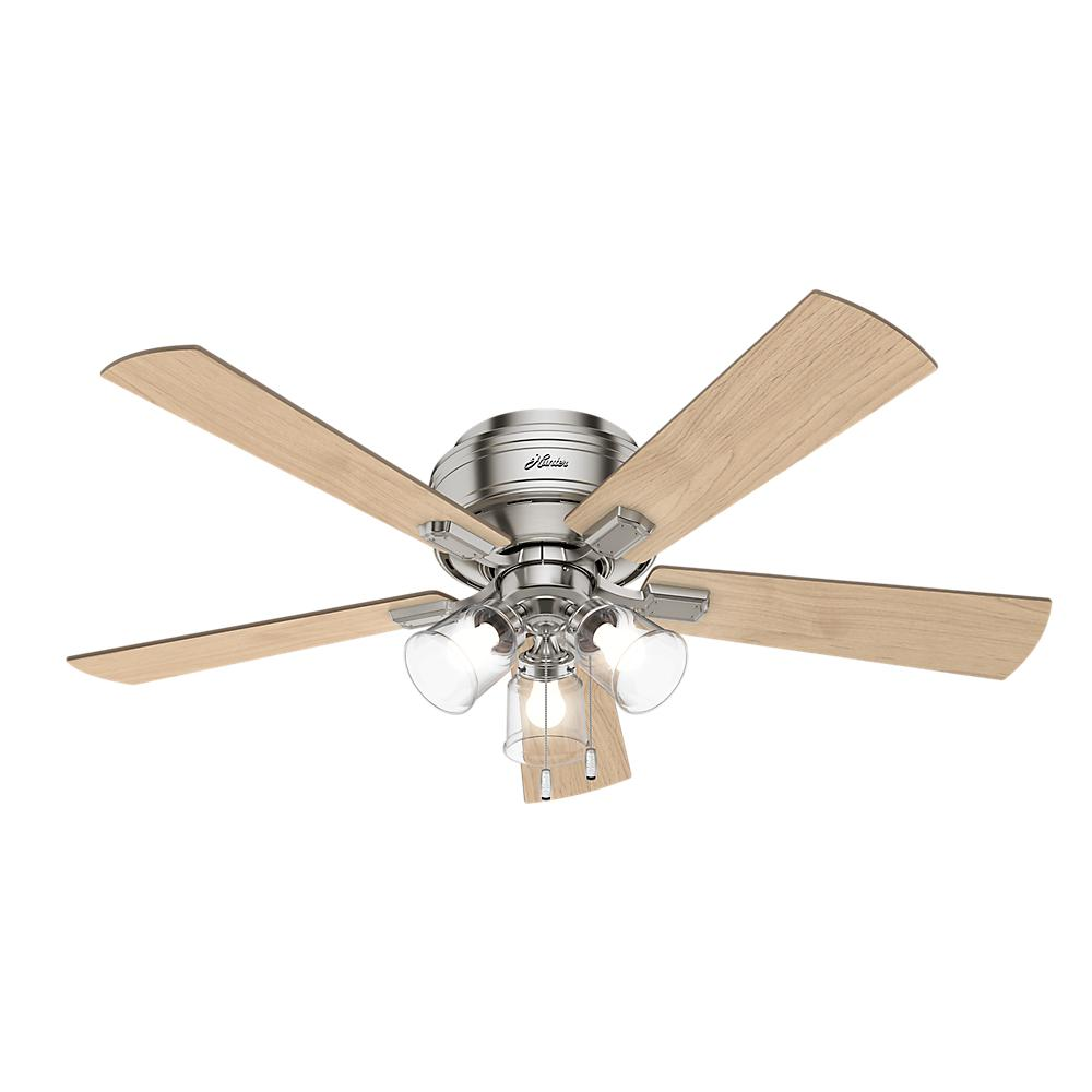 Hunter Low Profile 52 Led Ceiling Fan At Menards: Hunter Crestfield 52 In. LED Indoor Low Profile Brushed