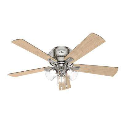 Hunter light bulbs included flush mount ceiling fans with led indoor low profile brushed nickel ceiling fan with 3 light mozeypictures Image collections