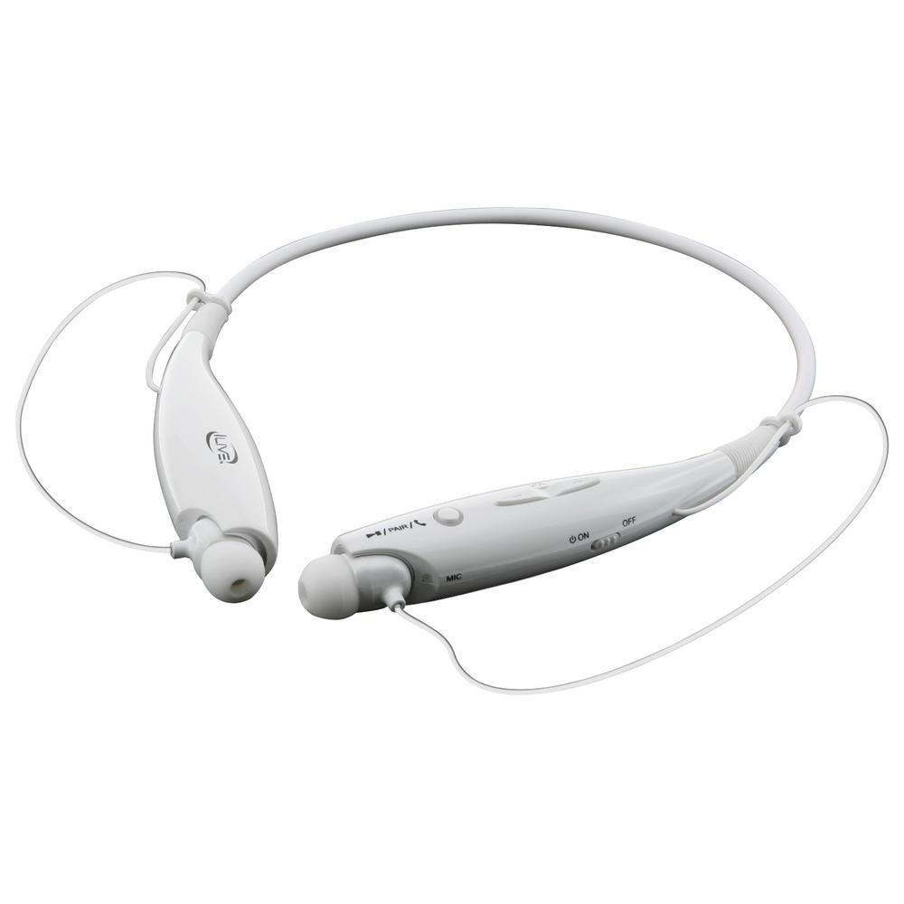 Ilive Bluetooth Wireless Neckband Earbuds White Iaeb25w The Home Depot