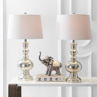Genie 28.5 in. Mercury Silver Glass Table Lamp (Set of 2)
