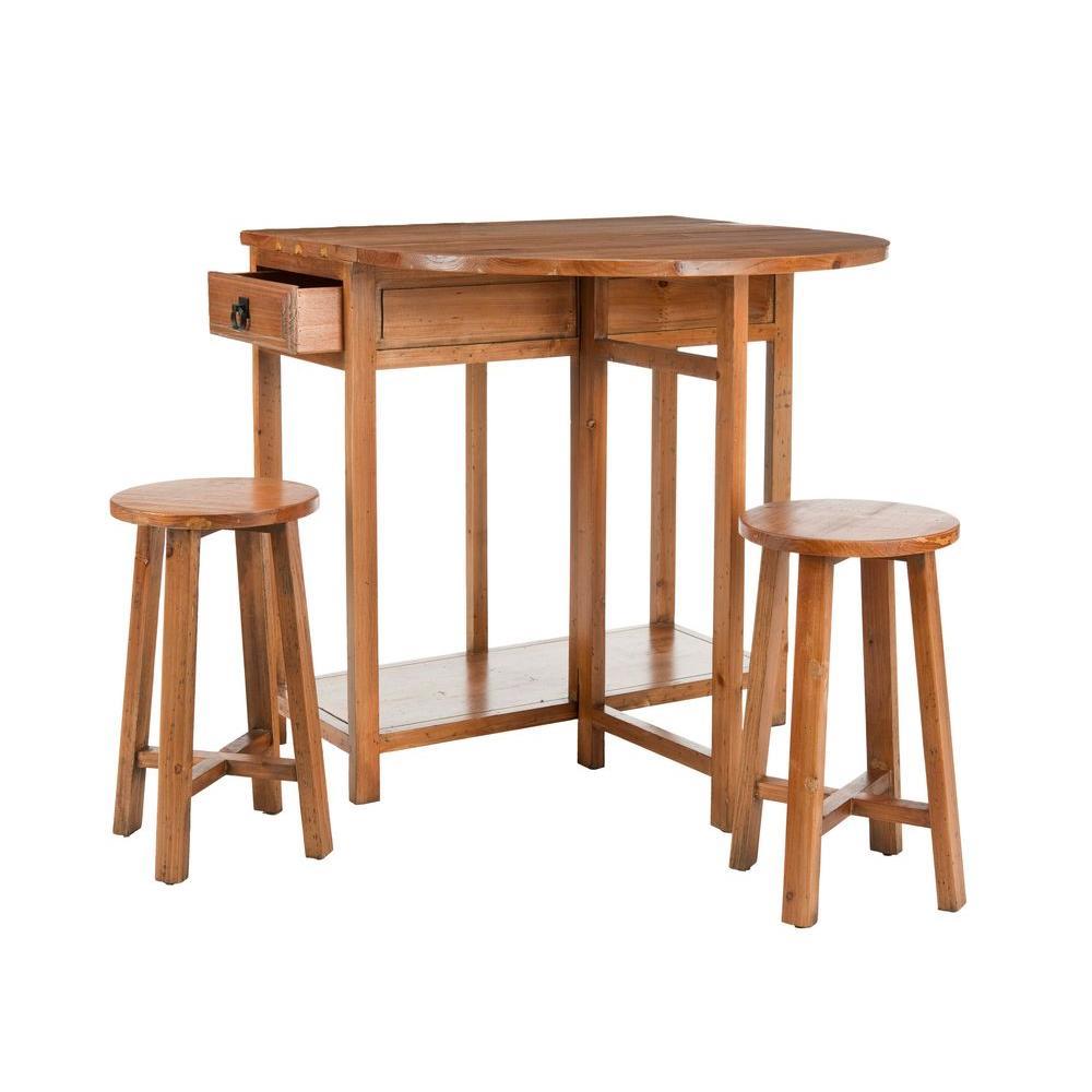 Safavieh Miles 3-Piece Brown Pine Bar Table Set-AMH6505A - The ...