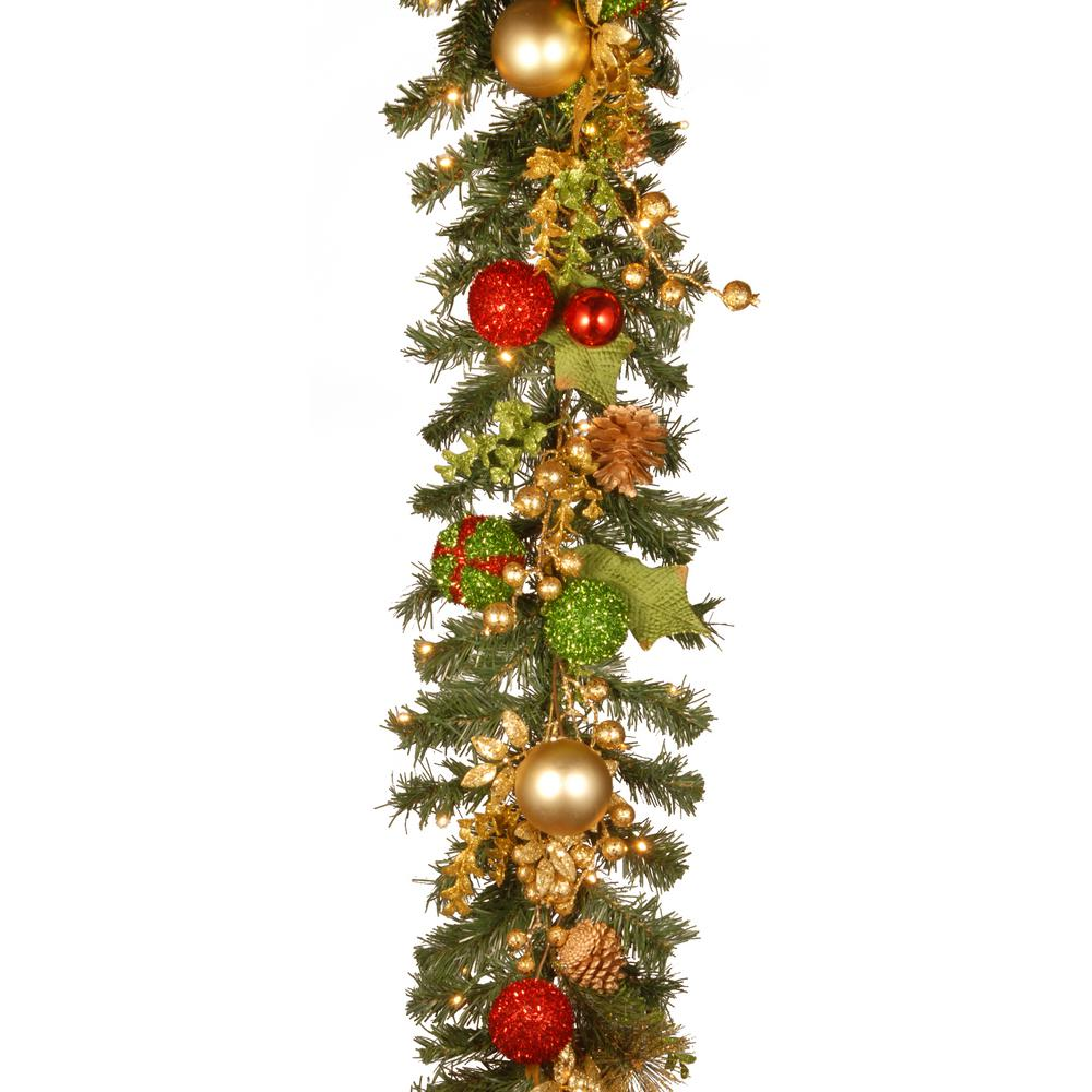 decorated christmas artificial garland with battery operated led lights