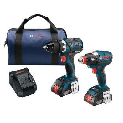 18-Volt Lithium-Ion Cordless 1/4 in. and 1/2 in. Impact Driver and 1/2 in. Drill/Driver Combo Kit (2-Tool)